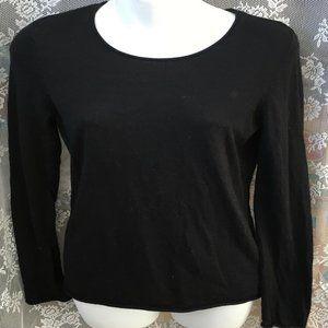 Cynthia Rowley Sweater Medium Merino Wool Thin Blk